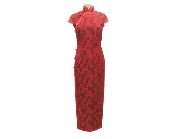 Beautiful Cap Sleeve Ankle Length Mandarin Dress (Red with Red Trim and delicate black design)