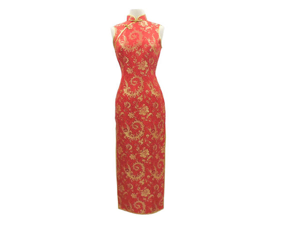 Beautiful red Sleeveless Ankle Length Mandarin Dress with gold Floral Pattern