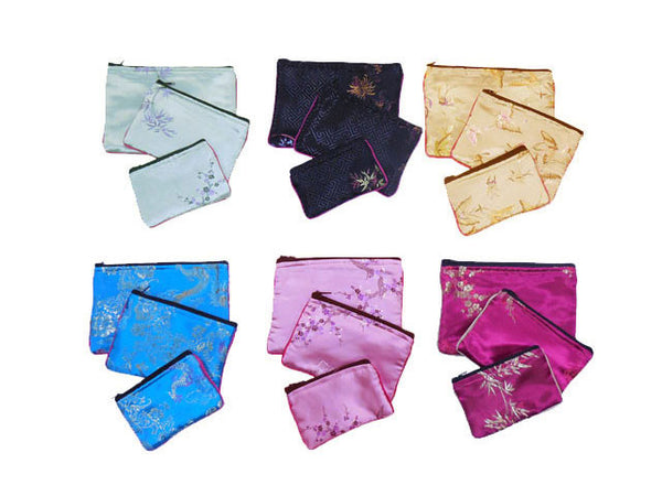 6 sets of 3 different-sized brocade bags each in light blue, black, champagne, royal blue, pink, and magenta