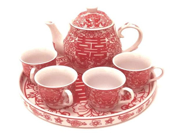 Classic style Double Happiness Design Ceramic Tea Set with Tray