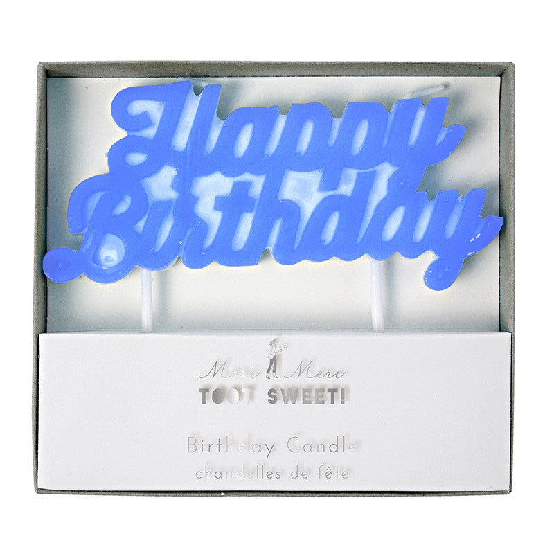 Blue Happy Birthday Candle