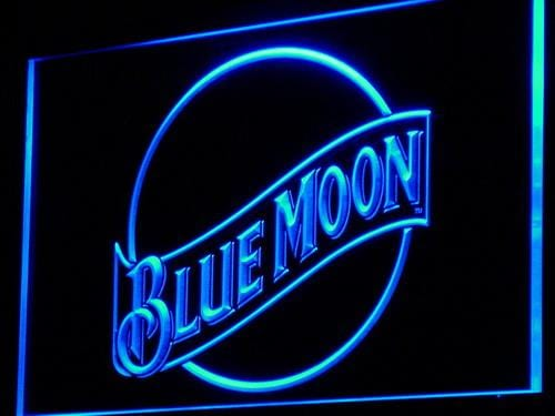 Blue Moon Beer Bar Pub LED Neon Sign a136 - Blue