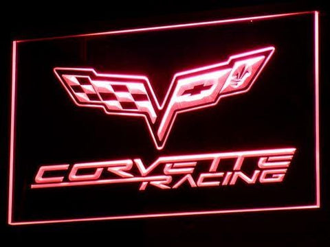 Corvette Chevrolet Racing LED Neon Sign d095 - Red