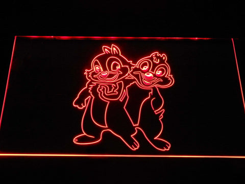 Chip 'N' Dale Cartoon LED Neon Sign g373 - Red