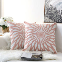 Pair of Pink and White Embroidered Flower Pattern Accent Pillow Covers, 2 Pcs