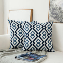 Pair of Blue Diamond Embroidered Pattern Accent Pillow Covers, 2 Pcs