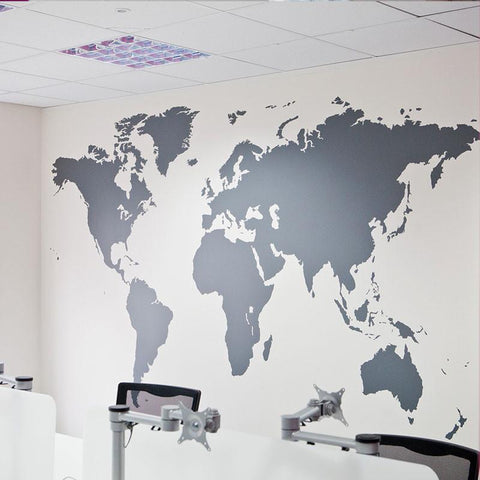 Silver Map of the World Vinyl Wall Decal