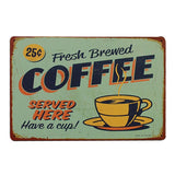 Shop Best Deals on Vintage Metal Cafe Sign Fresh Brewed Coffee