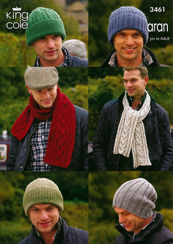 Hats & Scarves in King Cole Aran (3461)