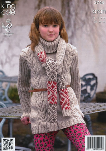 Tunic, Coat and Scarf in King Cole Fashion Aran (3744)