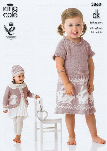 Dress, Cardigan, Hat and Blanket in King Cole DK (3860)
