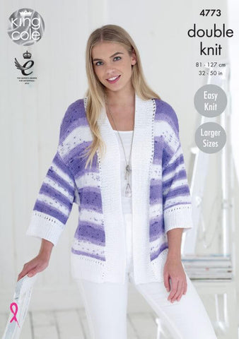 Ladies' Cardigan in King Cole Cottonsoft Crush DK (4773)
