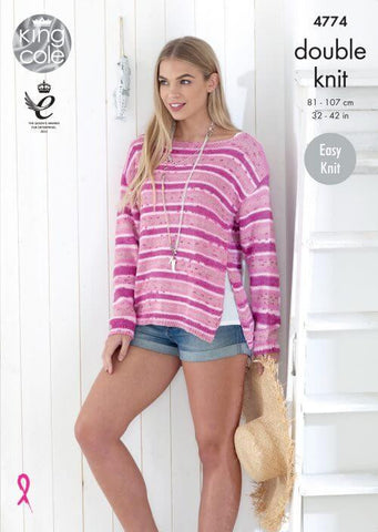 Ladies' Sweaters in King Cole Cottonsoft Crush DK (4774)