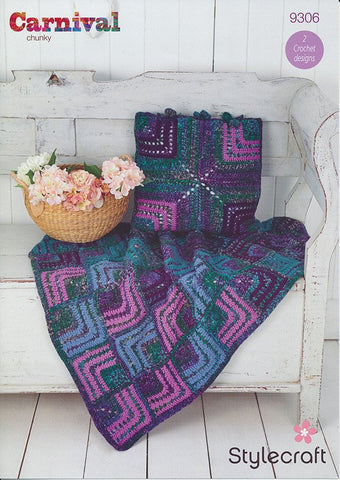 Mitred Square Throw and Cushion in Stylecraft Carnival Chunky and Special Aran (9306)