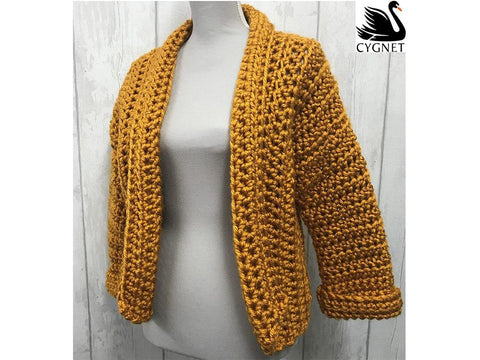 Cropped Cardigan in Cygnet Yarns Seriously Chunky Metallics