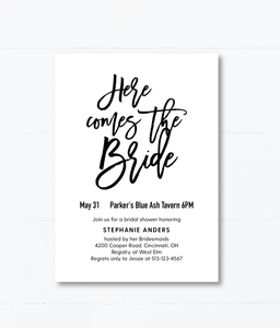 Here Comes The Bride Bridal Shower Invitation - Invited Too