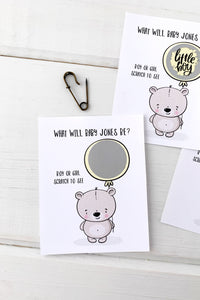 Baby Bear Gender Reveal Baby Shower Scratch Offs - Invited Too