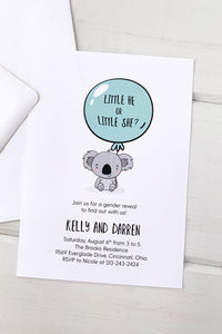 Baby Kaola Gender Reveal Invitation - Invited Too