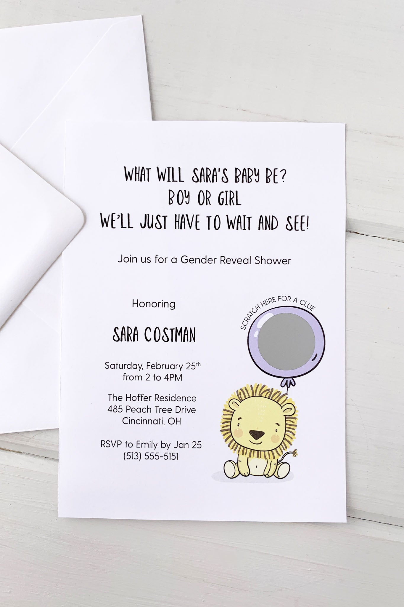 Baby Lion Gender Reveal Invitation - Invited Too