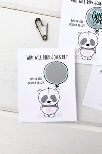 Baby Panda Gender Reveal Baby Shower Scratch Offs - Invited Too