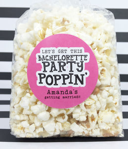 Bachelorette Party Popcorn Favors, Personalized Bachelorette Party Stickers - Invited Too