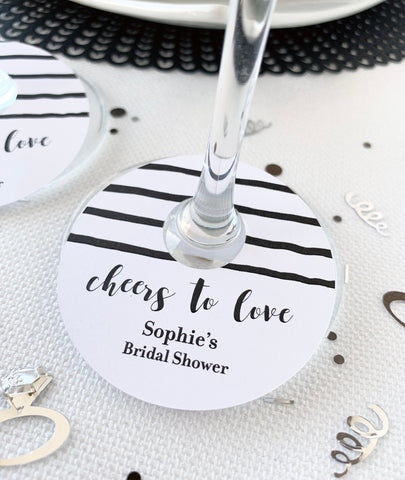 Cheers to Love Wedding Wine Glass Tags - Invited Too