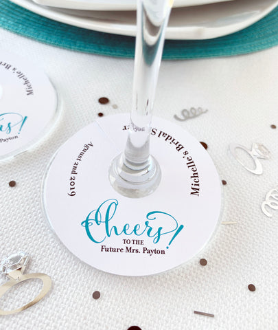 Cheers to the Future Mrs Wine Glass Tag Bridal Shower Favor Tags - Invited Too