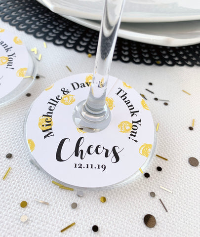 Cheers Thank You Wedding Wine Glass Favor Tags - Invited Too
