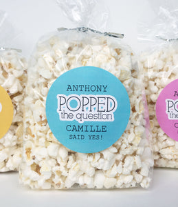 He Popped The Question Sticker, Couples Shower Popcorn Favors - Invited Too