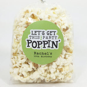 Lets Get This Party Poppin Popcorn Favor Stickers - Invited Too