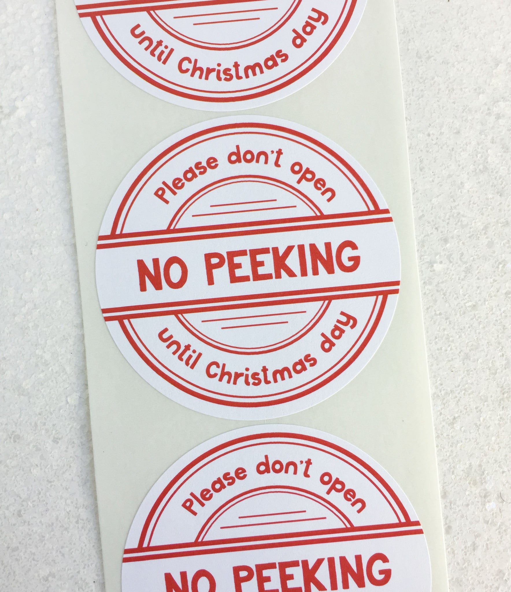 No Peeking Until Christmas Day Stickers – Invited Too