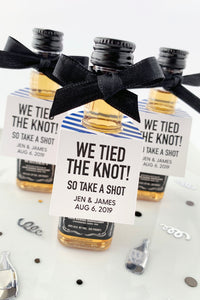 Take a Shot We Tied the Knot Mini Bottle Tags Wedding Favors - Invited Too