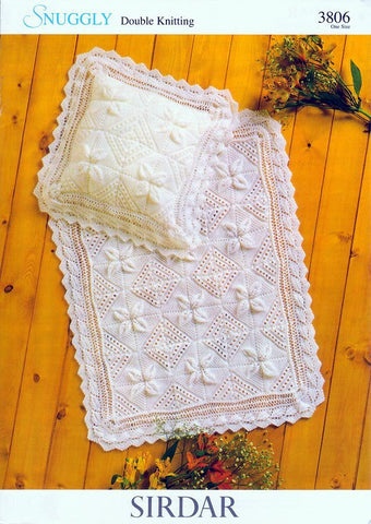 Blanket and Pillowcase in Sirdar Snuggly DK with Free Pattern (3806)