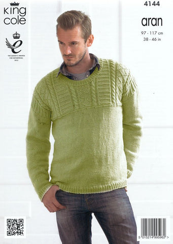 Textured Sweaters in King Cole Big Value Recycled Cotton Aran (4144)