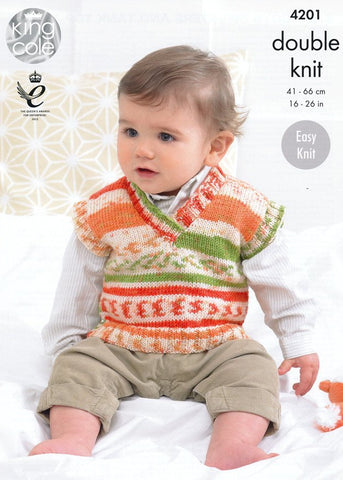 Baby Boys Sweater and Tank Top in King Cole Cherish and Cherished DK (4201)