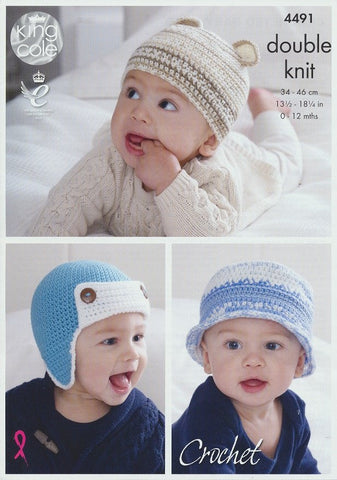 Crocheted Baby Hats in King Cole Cherish and Cherished DK (4491)