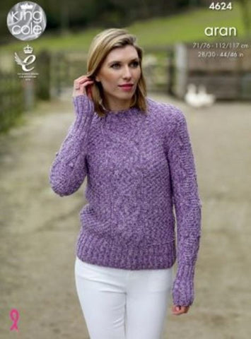 Sweater & Slipover in King Cole Fashion Aran Combo (4624)