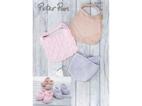 Bibs and Bootees in Peter Pan Baby Cotton DK (1307)