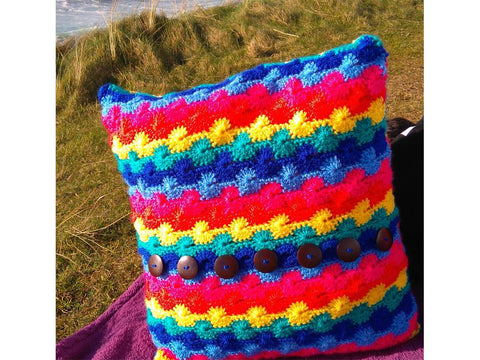 Wave Rainbow Crochet Cushion Cover by Sarah Murray in Stylecraft Special DK