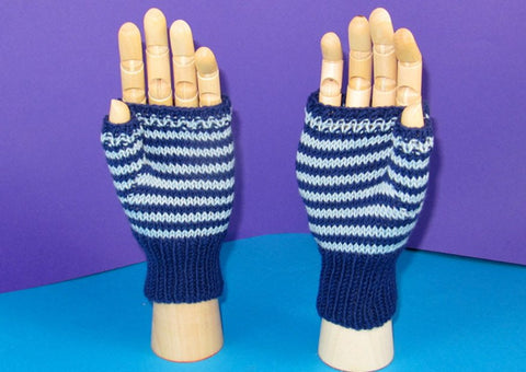 Easy Stripe Fingerless Gloves by MadMonkeyKnits (753) - Digital Version