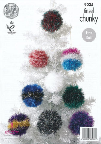 Tinsel Christmas Tree and Baubles in King Cole Tinsel Chunky (9035)