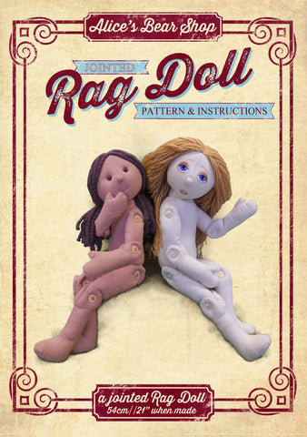 Button Jointed Rag Doll Pattern and Instructions Download - to make 54cm Rag Doll - Alice's Bear Shop