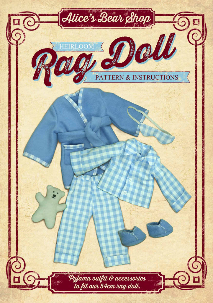 Sewing a Rag Doll Outfit - Pyjamas - Pattern and Instructions Download - to fit our 54cm Rag Doll - Alice's Bear Shop