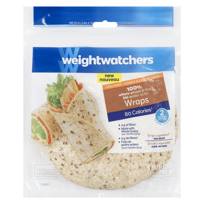 WEIGHT WATCHERS WRAPS 100% BLÉ ENTIER ET LIN 240 G