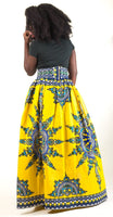 Bold Print Maxi skirt with pockets (Yellow) - AnnaTeiko Designs