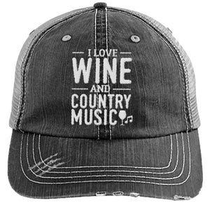 Wine and Country Music - Distressed Trucker Cap (Mesh Back)