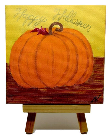 "P23 ""Happy Halloween Pumpkin"" Small Canvas Painting Office Home Decoration"