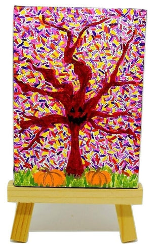 "P24 ""Halloween Tree"" Acrylic Handmade Mini Canvas Painting Fine Art Office Home Decoration Made in USA"
