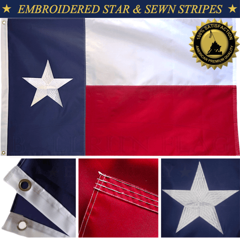 Texas State Flag 3x5 Feet Nylon Embroidered Lone Star Sewn Stripes 2 Brass Grommets American Heavy Duty Outdoor Outdoor 210 D