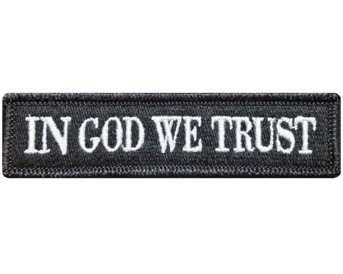 "V79 Tactical in god we trust patch Black & White 1""x3.75"" hook fastener *Made in USA* - Bullrun Flag Embroidery"